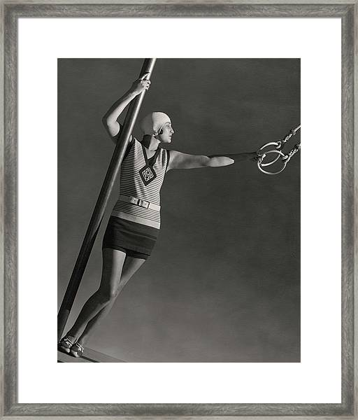 A Model Wearing A Jean Patou Bathing Suit Framed Print