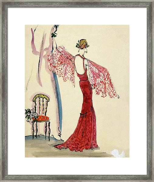 A Model Wearing A Lanvin Dress Framed Print by Christian Berard
