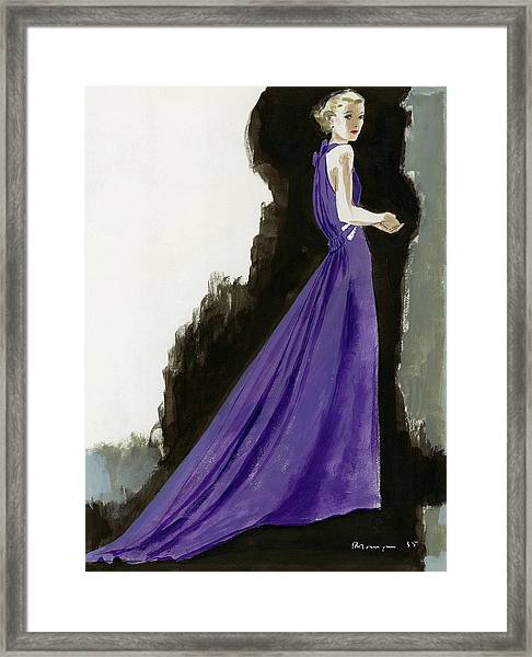 A Model Wearing A Purple Evening Dress Framed Print