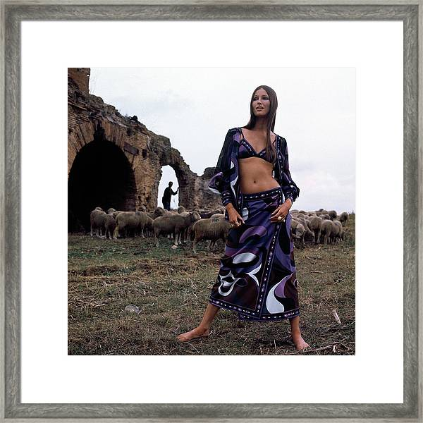 A Model Wearing A Purple Pucci Pattern Framed Print