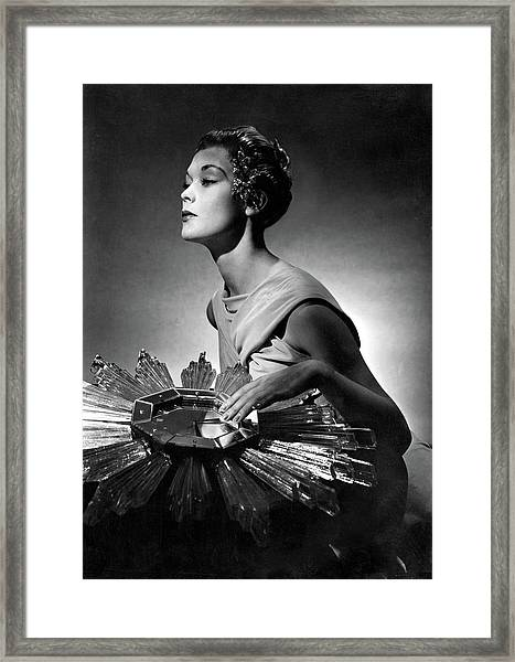 A Model Wearing A Schiaparelli Dress Framed Print