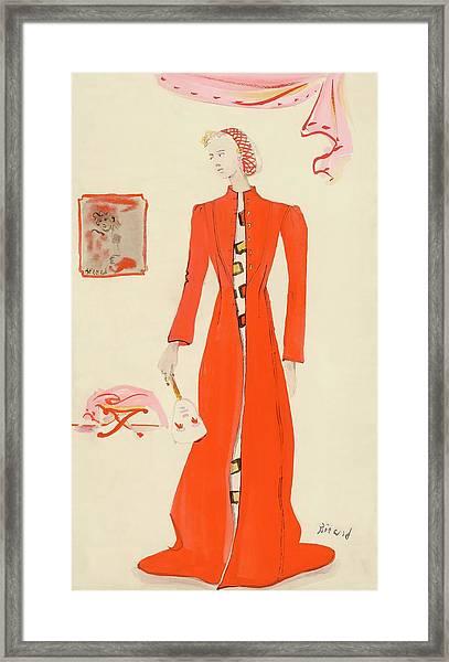 A Model Wearing A Schiaparelli Military Red Coat Framed Print by Christian Berard