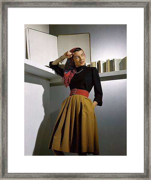A Model Wearing A Sweater Framed Print by Horst P. Horst