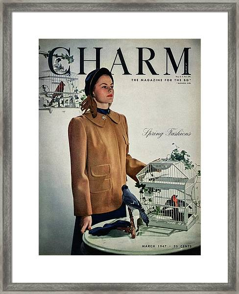 A Model Wearing A Wool Suede Coat With A Jay Bird Framed Print