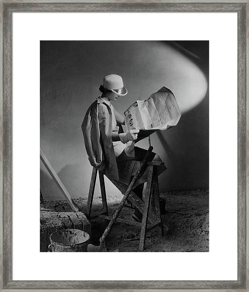 A Model Wearing An Oversized Shirt And Silk Dress Framed Print by Cecil Beaton