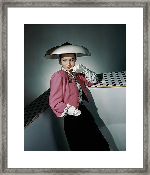 A Model Wearing Arnold Constable And Carolyn Framed Print
