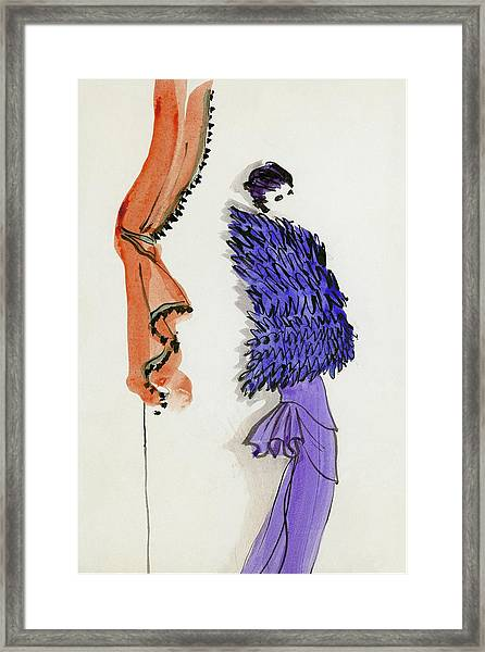 A Model Wearing Patou Framed Print by Christian Berard