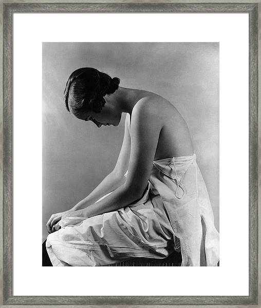 A Model With Her Eyes Closed Framed Print by Lusha Nelson