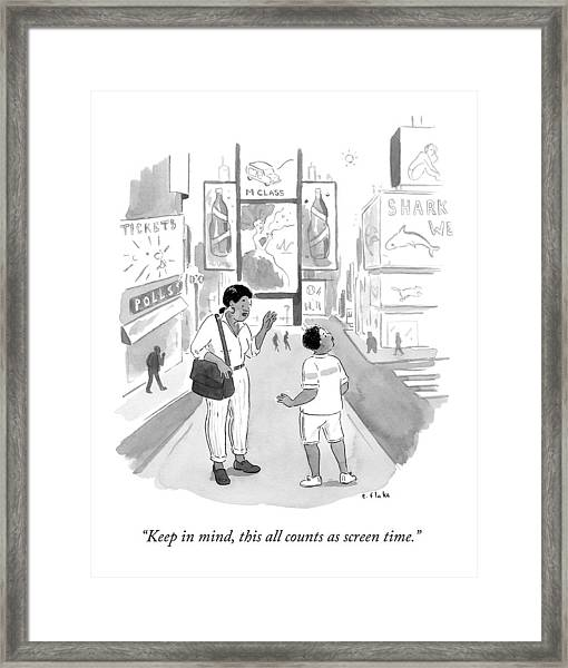 A Mom Says To Her Enraptured Son In Times Square Framed Print