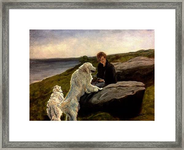 A Moment Of Repose With The Magnificent Dogs Framed Print