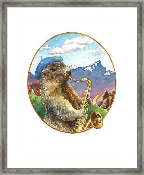 A Musical Marmot Framed Print