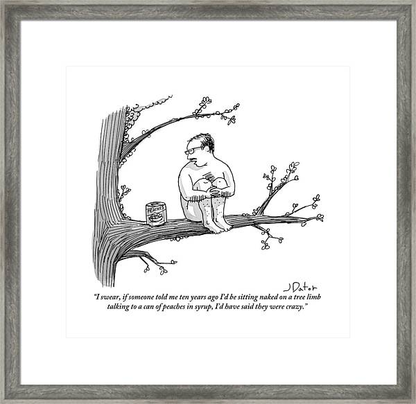 A Naked Man Sitting On A Tree Branch Is Talking Framed Print