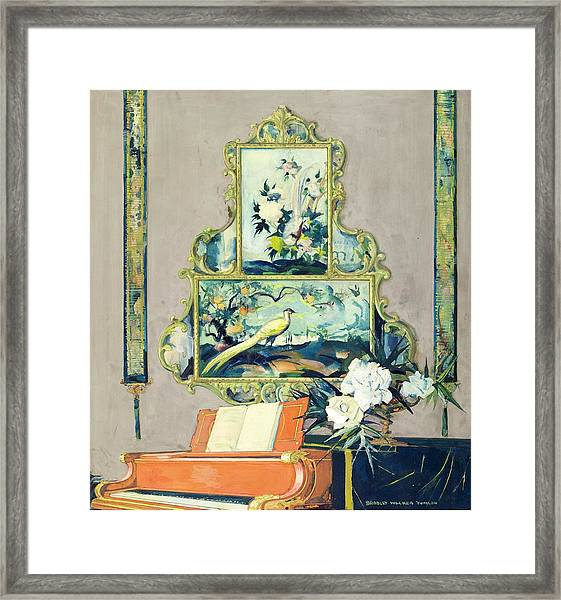 A Painting Of A House Interior Framed Print