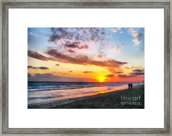 A Painting Of The Sunset At Sea Framed Print