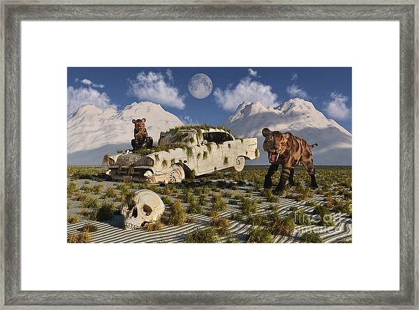 A Pair Of Sabre-toothed Tigers Come Framed Print