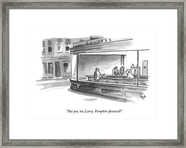 A Parody Of Edward Hopper's Painting Nighthawks Framed Print