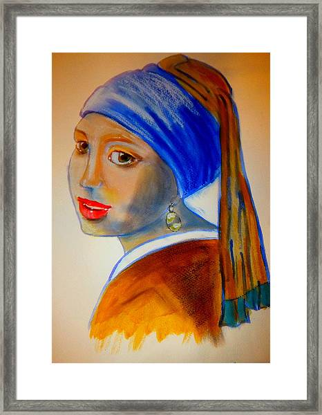 A Pastiche Of  'girl With A Pearl Earring' Framed Print