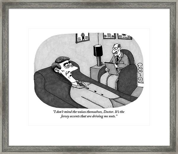 A Patient Lying Down Talks To His Shrink Framed Print