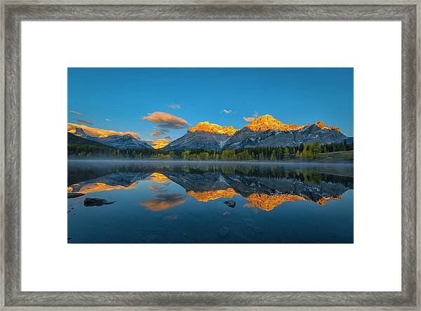 A Perfect Morning In Canadian Rockies Framed Print by Michael Zheng