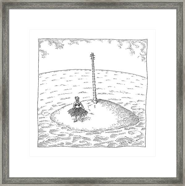 A Person Stands On A Desert Island. The Tree Framed Print