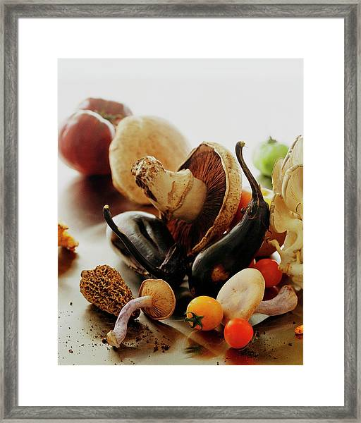 A Pile Of Vegetables Framed Print