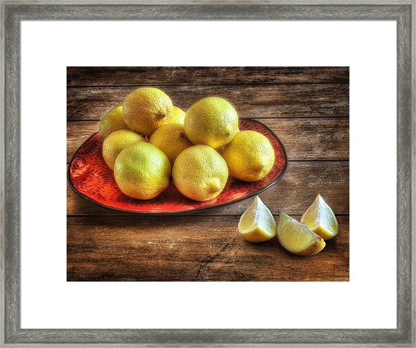 A Plate Of Lemons In The Kitchen Framed Print