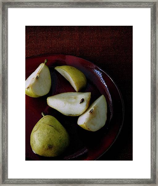 A Plate Of Pears Framed Print