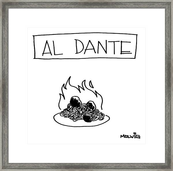 A Plate Of Spaghetti And Meatballs Is Burning Framed Print