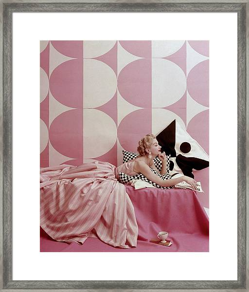 A Portrait Of Lisa Fonssagrives Lying Framed Print by Richard Rutledge