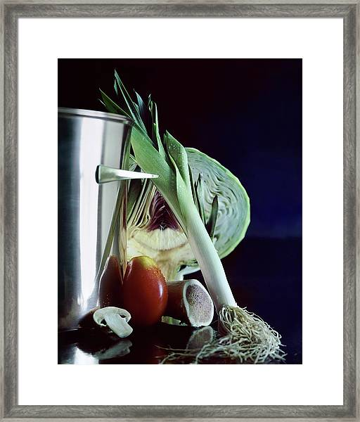 A Pot With Assorted Vegetables Framed Print