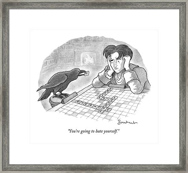 A Raven Is About To Add An N To The Word Evermore Framed Print