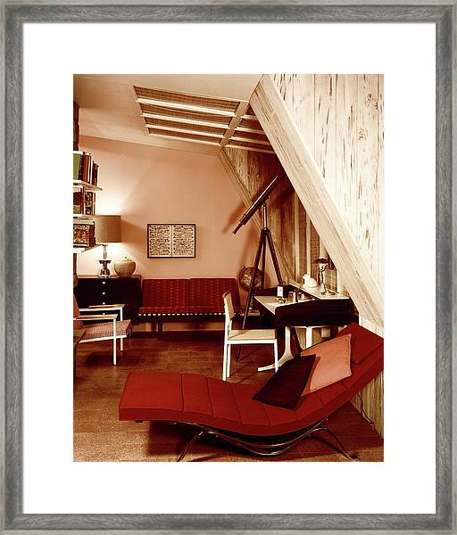 A Red Living Room Framed Print