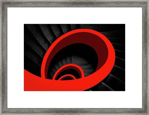 A Red Spiral Framed Print by Inge Schuster
