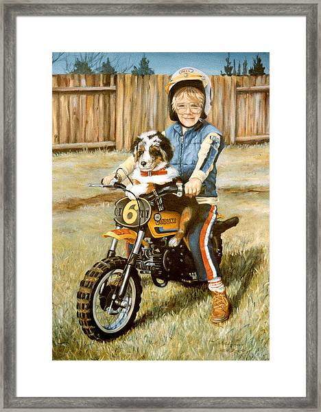A Ride In The Backyard Framed Print