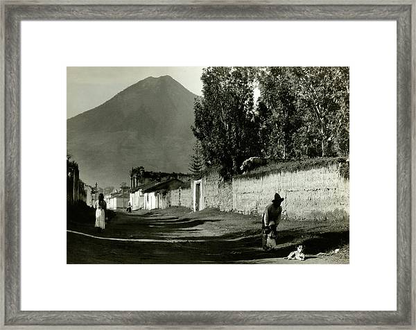 A Road By Mount Agua In Guatemala Framed Print