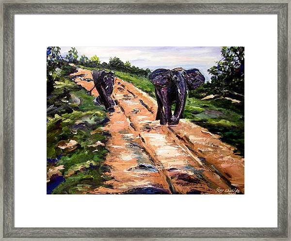 Framed Print featuring the painting A Rough Safari by Ray Khalife