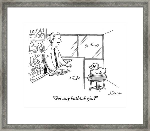A Rubber Duck At A Bar Addresses The Bartender Framed Print