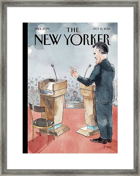 A Scene From The Presidential Debate Framed Print