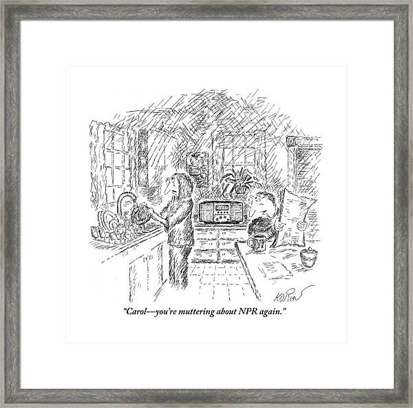 A Seated Husband Is Talking To His Wife Framed Print