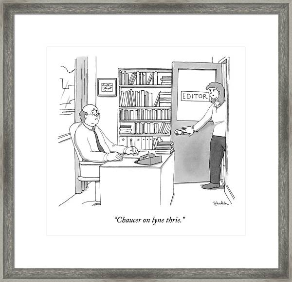 A Secretary Informs An Editor Framed Print