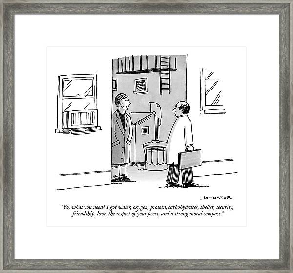 A Seedy Looking Man Speaks From An Alley Framed Print