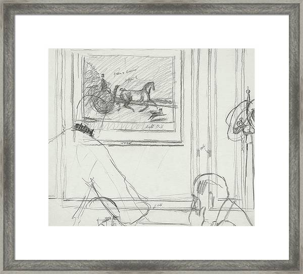 A Sketch Of A Horse Painting At A Bar Framed Print