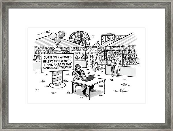 A Sketchy-looking Man Sits At A Table Framed Print