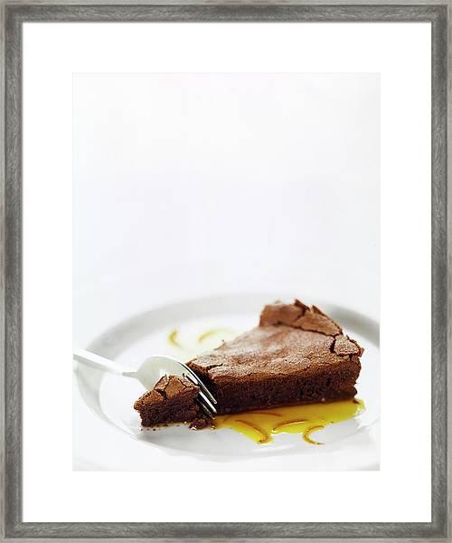 A Slice Of Chocolate Cake Framed Print