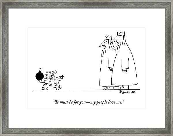 A Small Peasant Approaches Two Kings With A Bomb Framed Print