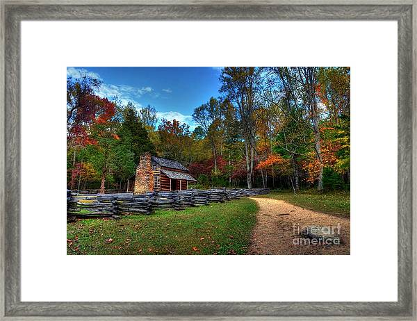 Framed Print featuring the photograph A Smoky Mountain Cabin by Mel Steinhauer