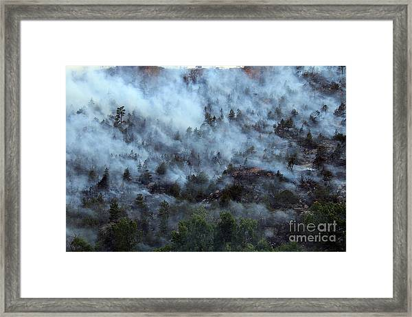 A Smoky Slope On White Draw Fire Framed Print