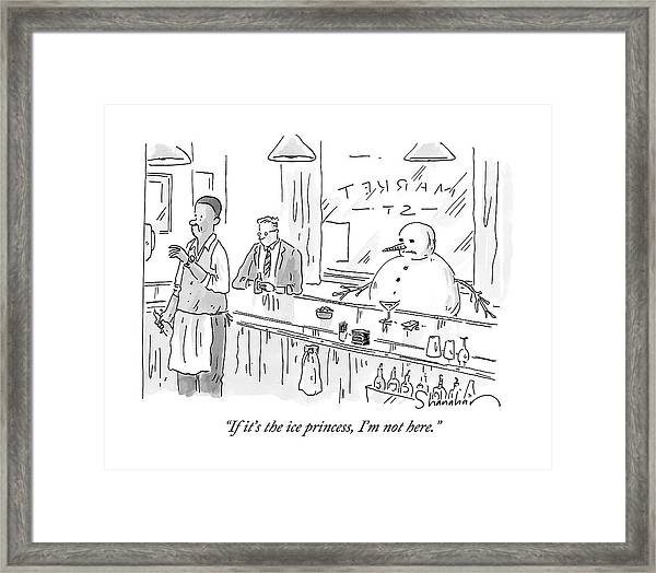 A Snowman Is Sitting At A Bar Drinking What Framed Print