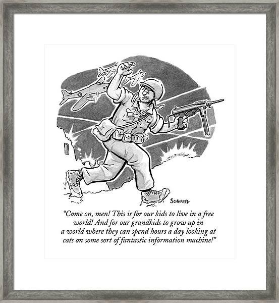 A Soldier Holding A Gun Runs Through Battle Framed Print