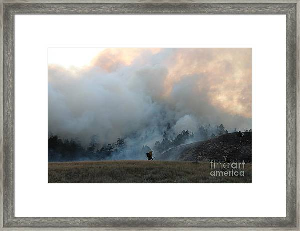 A Solitary Firefighter On The White Draw Fire Framed Print
